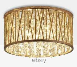 John Lewis Emilia Crystal Drum Semi Flush Ceiling Light Modern Lamp Shade Gold