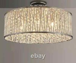 John Lewis Emilia Large Crystal Drum Flush Ceiling Light Modern Lamp Shade New