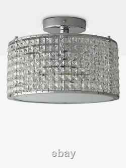 John Lewis Illuminati Victory Crystal Semi Flush Bathroom Ceiling Light Clear
