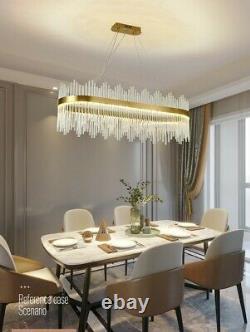LED Ceiling Light Modern Crystal Large Oval Crystal Chandelier Long Oval Light