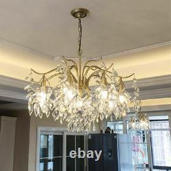 LED Crystal Chandelier Branch Ceiling Light Living Room Gold Pendent Lamp New
