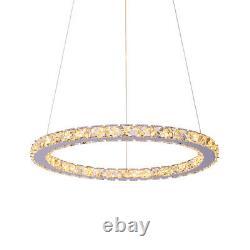 LED Crystal Chandelier Warm White 1/2/3 Round Ring Pendant Light Ceiling Lamp UK