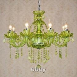 LED Crystal Green Chandelier Living Room Ceiling Light Fixture Pendant Lamp