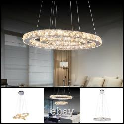 LED Crystal Oval Pendant Lamp LivingRoom DIY Chandelier Ceiling Fixture Lighting