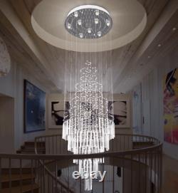 LED Crystal Rain Drop Ceiling Lamp Lighting Staircase Light Villa Chandelier