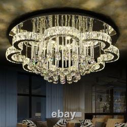 LED K9 Crystal Ceiling Light Living Dimming Lamp Chandelier Lighting Remote