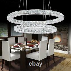 LED Modern Crystal Chandelier 2, 3 Ring Ceiling Lighting Fixture Pendant Lights