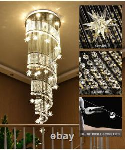 LED Modern K9 Crystal Chandelier Light Ceiling Villa Stairs Lighting Fixture