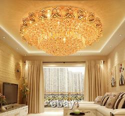 LED Remote Control K9 Crystal Gold Ceiling Light Chandeliers Lighting Lamps 6736