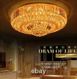 LED Remote Control S Gold K9 Crystal Ceiling Light Pendant Lamp Chandeliers 6004