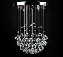 LED ceiling lamp glass crystal chandelier droplet ball light 30cm 3xG9 Denita