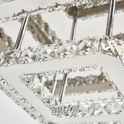Large Clear Crystal Chandelier Ceiling Light 70cm Living Room Squar Pendant Lamp