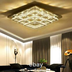 Large Living Room LED Ceiling Light 70cm 3 Tier Crystal Pendant Lamp With Remote
