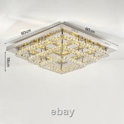 Large Square LED Crystal Chandelier Lamp Ceiling Fixture Pendant Light + Remote
