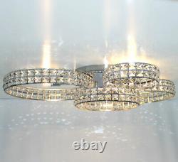 Led XL chandelier crystal ceiling lamp lighting rings 75x50cm 4x3W G9 RINGARA