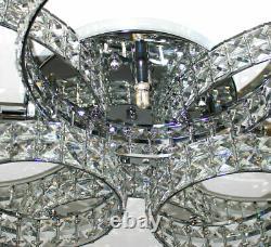 Led XXL chandelier crystal ceiling lamp living lighting rings 88x66cm 6x3W G9