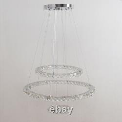 Luxury Chandelier Dimmable LED Crystal 3 Ring Pendant Ceiling Light with Remote