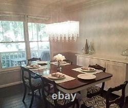 Luxury Crystal Chandelier Ceiling Lights, Modern Rectangle Raindrop Elegant