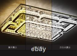 Luxury Crystal Chandelier Dimmable Lighting Modern Chrome Ceiling Fixture Remote