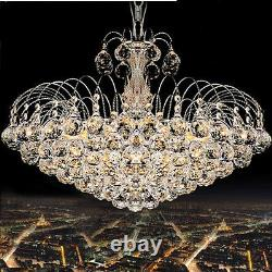 Luxury Genuine Crystal Glass Silver Chrome Ceiling Light Chandeliers