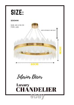 Luxury Gold Crystal Glass Round Wide Circle LED Modern Ceiling Light Chandelier