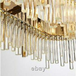 Luxury Gold Crystal Glass Round Wide Oval LED Modern Ceiling Light Chandelier