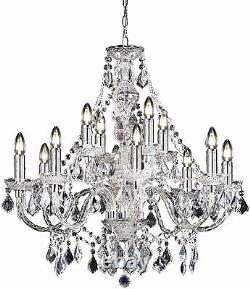 Milo Lighting Empire 12 Light Ceiling Chandelier Light Crystal, Acrylic Clear