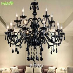 Modern Candle Black Crystal Chandelier Living Room Pendant Light Ceiling Lamp