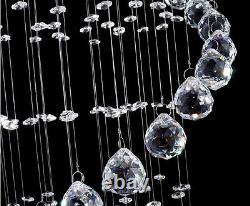Modern Ceiling Ligh LED Crystal Rain Drop Spiral Pendant Lamps Luxury Chandelier