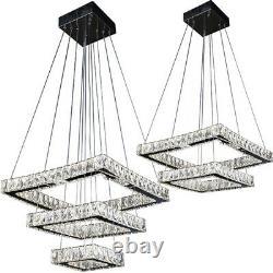 Modern Chandelier 2 3 Tier Square LED Ceiling Hanging Light Crystal Pendant Lamp