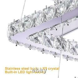 Modern Chandelier LED Hanging Ceiling Light Crystal Pendant Lamp Round Fittings