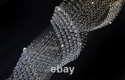 Modern Chandelier LED Spiral Crystal Light Ceiling Villa Stairs Lighting Fixture