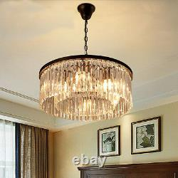 Modern Clear Glass Prism Round Chandelier E14 Crystal Light Ceiling Lamp 23.6