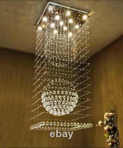 Modern Clear K9 Crystal Chandelier LED Ceiling Villa Stairs Lighting Pendent