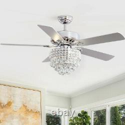 Modern Crystal Ceiling Fan 5 Blades LED Chandelier Remote Control Lamp Home Deco