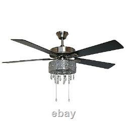 Modern Crystal Chandelier 52'' LED Silver Ceiling Fan with Light by River of Goods
