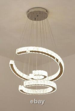 Modern Crystal Chandelier LED 3 Rings Pendant Ceiling Light Dining Room Kitchen