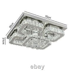 Modern Crystal Square LED Ceiling Lights Pendant Chandelier Lamp Living Room