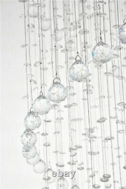 Modern Double Spiral Clear Crystal droplet 186CM Long Chandelier Ceiling Light