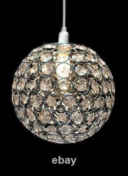 Modern Easy Fit Clear Acrylic Ball Crystal Jewelled Ceiling Pendant Light Shade