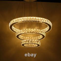 Modern Galaxy Big Crystal LED Round Ring Pendant Lamp Ceiling Light Chandelier