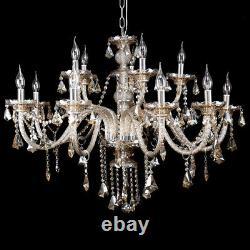 Modern Home 15 Arm Crystal Cut Glass Chandelier Pendant Ceiling Cognac Light E14