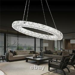 Modern LED Crystal Chandelier Ceiling Light Pendant Lamp 1 2 3 4 Ring Dimmable