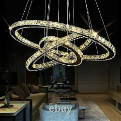Modern LED Crystal Light 2/3 Ring Chandelier Pendant Lamp Dimmable Ceiling Lamps
