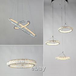 Modern LED Crystal Light Ring Chandelier Pendant Lamp Ceiling Lights Lighting