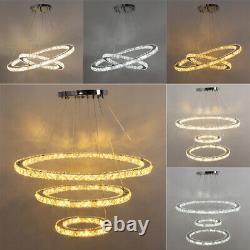 Modern LED Crystal Light Round 1/2/3 Ring Chandelier Pendant Lamp Ceiling Lights