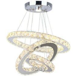 Modern LED Crystal Round Ring Adjustable Chandelier Pendant Lamp Ceiling Lights