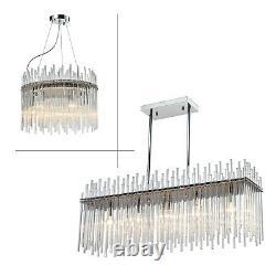 Modern Luxury Chandelier E14 LED Glass Crystal Droplet Elegant Ceiling Light Fix