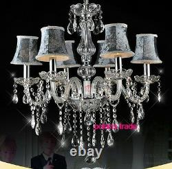 Modern Luxury Gray shade crystal chandelier elegant Ceiling lamp Pendant light