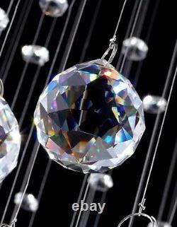 Modern Luxury LED Crystal RainDrop Spiral Pendant Lamp Ceiling Light Chandelier